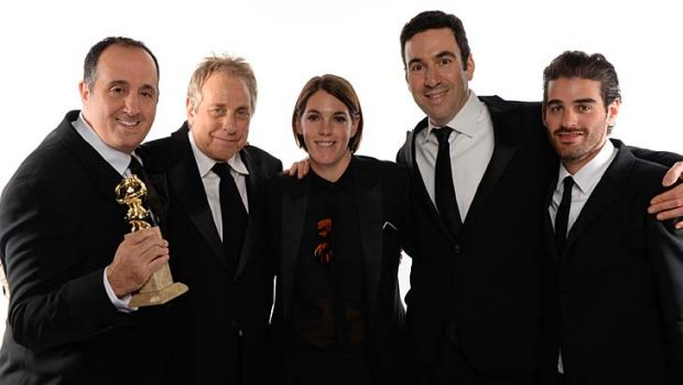 Megan Ellison with her fellow <i>American Hustle</i> producers Richard Suckle, Charles Roven, Jonathan Gordon and ...