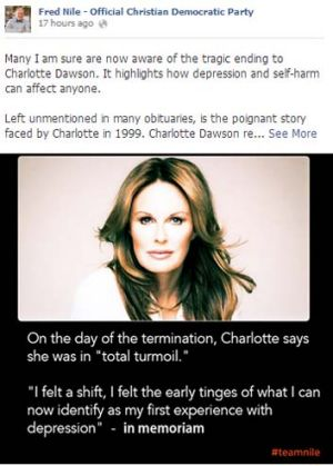 Fred Nile's post on the death of Charlotte Dawson on the Official Christian Democratic Party Facebook page.