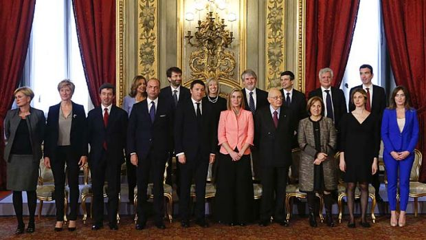 Sworn in: Newly appointed Italian Prime Minister Matteo Renzi (front row, 5th left) poses with his new ministers.