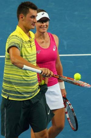 Bernard Tomic with Sam Stosur during the Hopman Cup in December.