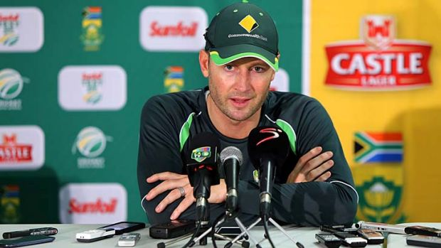 Michael Clarke speaks to the media after Australia's big defeat.