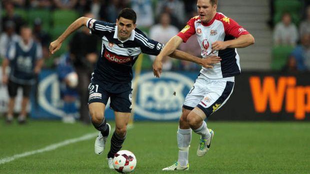 Melbourne Victory's Tom Rogic controls the ball during the round 20 A-League match against Adelaide United at AAMI Park ...