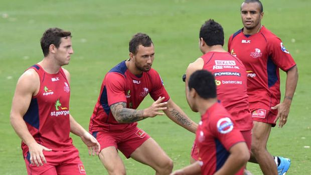 Red tide: Quade Cooper trains with the rampant Queensland Reds.