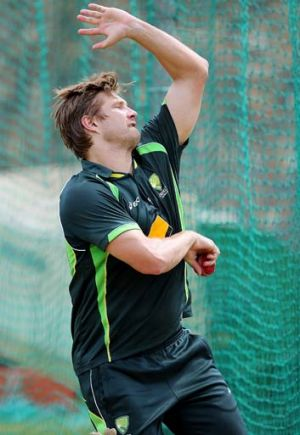 Shane Watson bowls in the nets session at St George's Park Cricket Stadium on February 19.