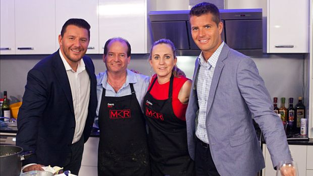 Claims surface that <i>My Kitchen Rules</i>' contestants David and Corinne(centre) had an affair and Corinne is still ...