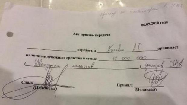 The receipt for a cash transfer of $US12 million reportedly found dumped near the Ukrainian leader's country estate.