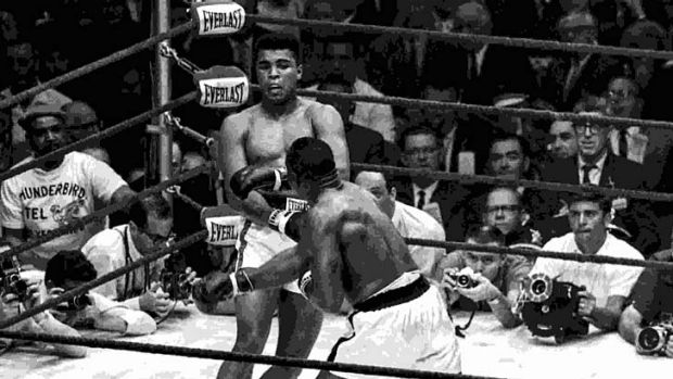 Legends collide: Cassius Clay and Sonny Liston face off.
