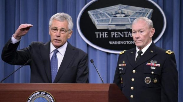 Cost cutting: US Defence Secretary Chuck Hagel with General Martin Dempsey, chairman of the Joint Chiefs of Staff, at ...