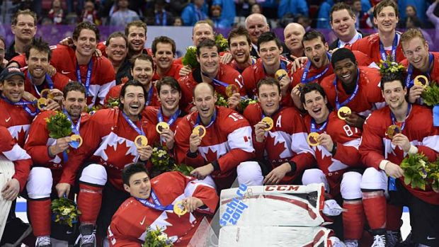 Canada's gold medallist team at the Bolshoy Ice Dome.