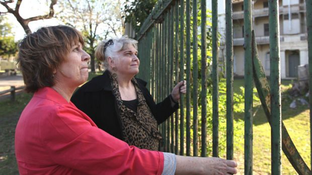 Haunting: Bonney Djuric, left, and Christina Green at the former site of controversial detention centre Parramatta Girls ...