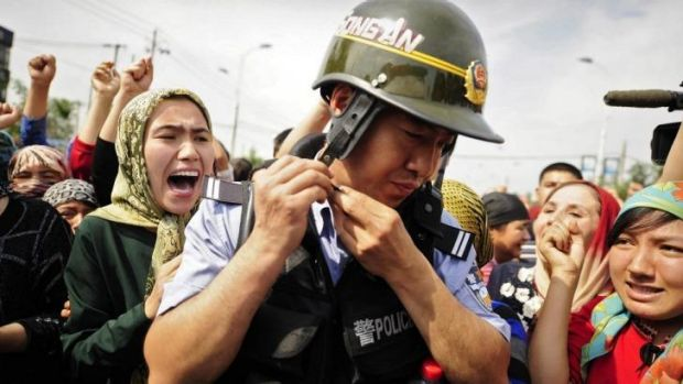 Unrest: Uighurs in Xinjiang have clashed with majority Han Chinese and the authorities since 2009, when this protest ...