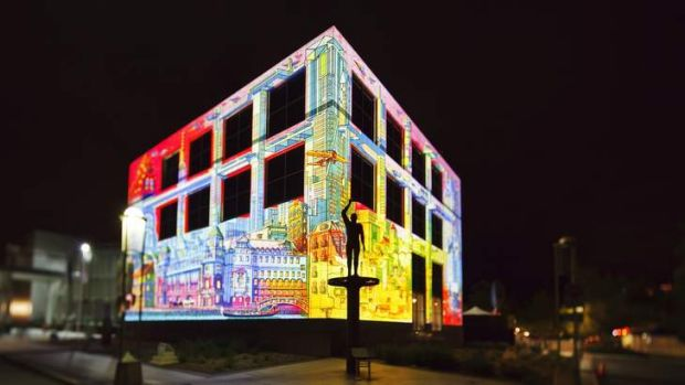 The Electric Canvas projects original artworks onto Questacon during Enlighten Canberra 2013.