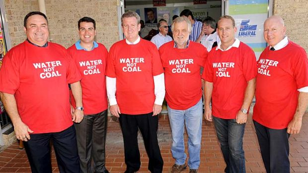 Just say no: MPs Chris Holstein, Darren Webber, Chris Spence and Chris Hartcher with then opposition leader Barry ...