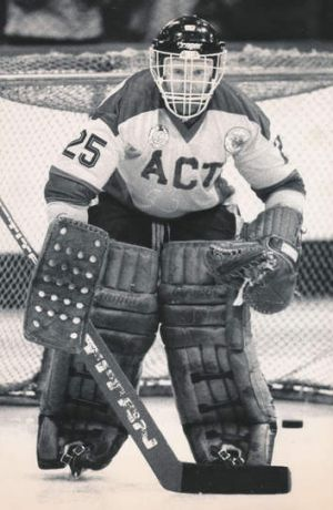 Canberra Knights goalie Harley Campbell in 1987.