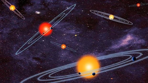 An artist's illustration shows multiple-transiting planet systems, or stars with more than one planet.