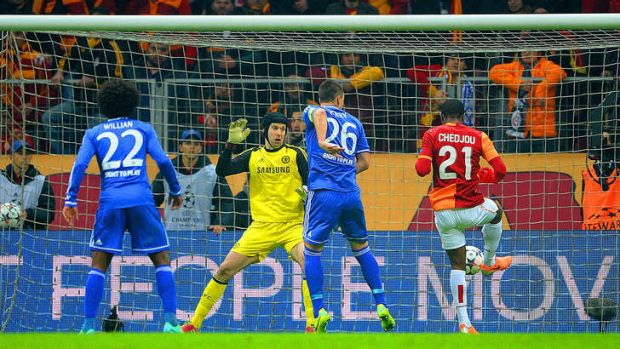 Equaliser: Galatasaray's Aurelien Chedjou squares the ledger in the second half against Chelsea.