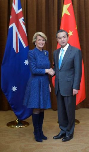 Foreign Minister Julie Bishop with her Chinese counterpart Wang Yi in December last year. The Chinese minister ...