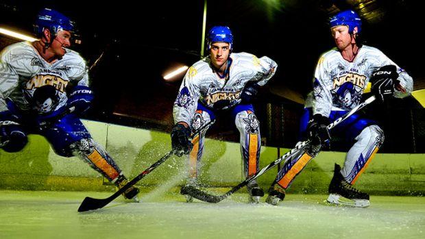 Knights players Jordie Gavin, Maxime Suzzarini and captain Mark Rummukainen.