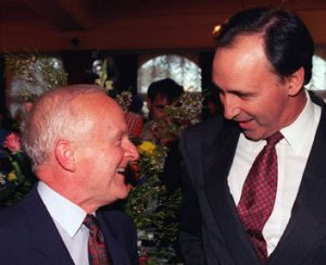 John Button and Paul Keating, pictured in 1998, helped shape the future of the Australian car industry.