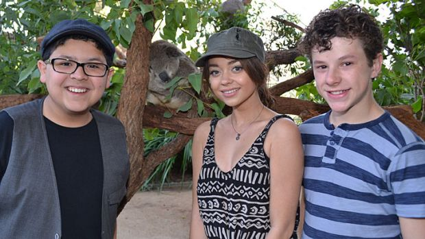 At Sydney's Taronga Zoo ... actors, from left, Rico Rodriguez, Sarah Hyland and Nolan Gould on February 23, 2014