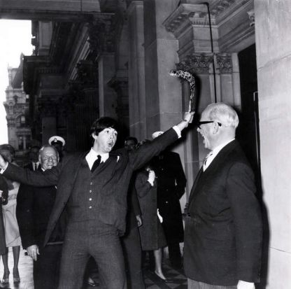 Paul McCartney during the Melbourne leg of the tour at the Melbourne Town Hall, showing his boomerang skills to ...