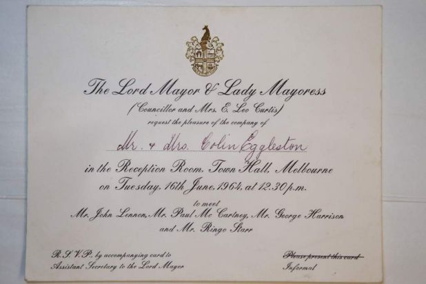 The Lord Mayor's invitation from the memorabilia of the Beatles' tour of Melbourne.