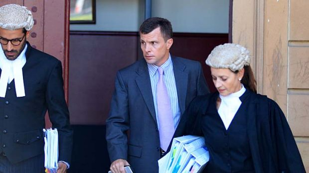 "Accident an ""impossibility"": Accused murderer Paul Mulvihill leaves Darlinghurst Supreme Court."