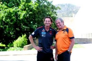 Figureheads ... Hird with his former Essendon coach, Kevin Sheedy, before a clash with the Greater Western Sydney Giants ...