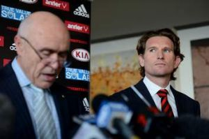 Fronting up ... Essendon chairman Paul Little addresses the media about the club's drug charges on August 21, 2013.