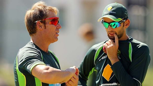 Shane Warne speaks to Nathan Lyon.