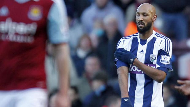 Quenelle: Nicolas Anelka's controversial goal celebration for West Bromwich Albion in December.