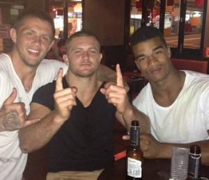 Dragons players Craig Garvey, Mitch Rein and Yaw Kiti Glymin on Thursday night