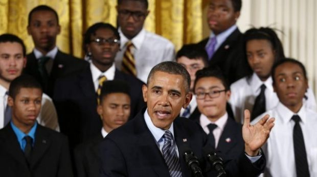"""US President Barack Obama launches the initiative """"My Brother's Keeper"""" at the White House."""