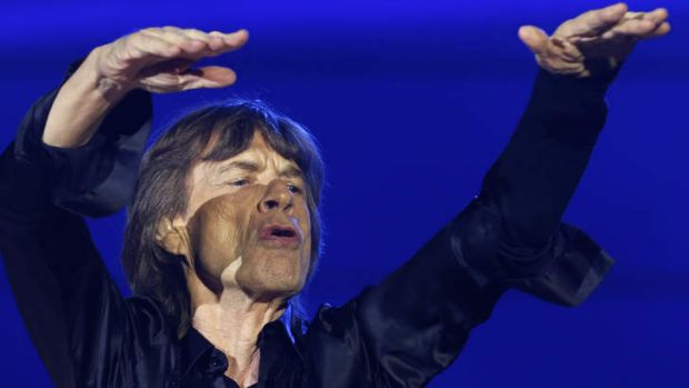 Mick Jagger plays up to the crowd during the Rolling Stones' performance  at Tokyo Domeion Wednesday.