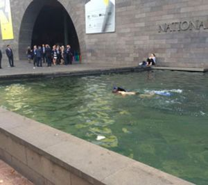 Pedestrians watched in bemusement as the man swam in the NGV moat.