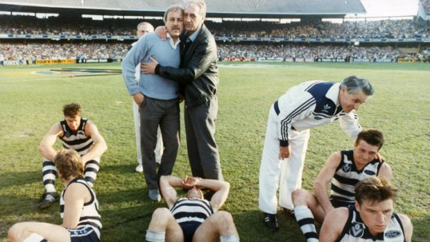 Malcolm Blight, pictured after losing to Hawthorn in 1989. He coached Geelong to three grand final losses before winning ...
