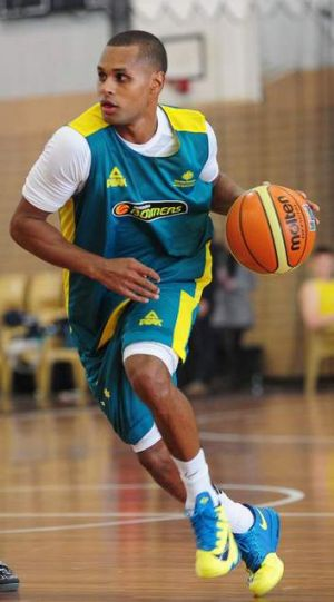 Patty Mills trains with the Boomers in Canberra last year.