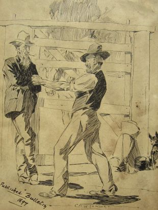 """""""An Insult to the Swag"""" Illustration by George Lambert, 1897."""