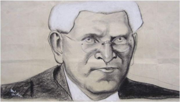 Judge Herbert Moffitt (artist, teacher, lawyer, judge). This image appeared in Smith's Weekly in 1939. The artist, Syd ...