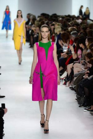 A model walks the runway during the Christian Dior show as part of the Paris Fashion Week.