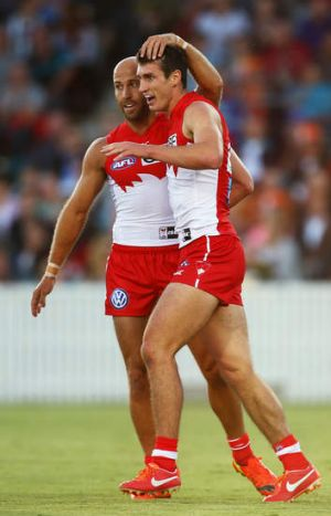 The next flight: Jarrad McVeigh and Dean Towers.