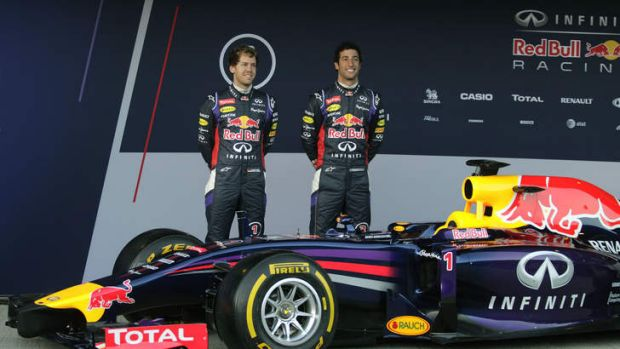 Halo, I must be winning: Sebastian Vettel and Daniel Ricciardo unveil the RB10 car at Jerez.