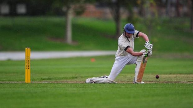 ANU Batsman Cameron Hargraves faces up to the Queanbeyan bowling attack.