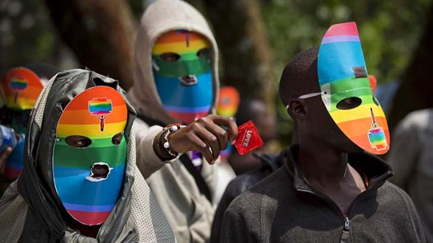 Fear: Gays in neighbouring Kenya protest against the law.