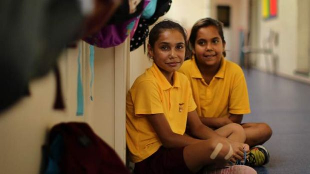Education for all: Shandi McEwen and Kamika White, both 11, students at Glebe Public School.  Photo: Kate Geraghty