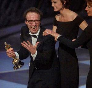 Flamboyant favourite: Director Roberto Benigni in 1999.