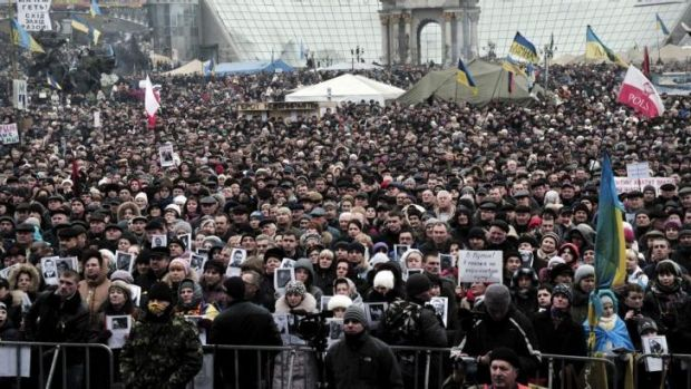 People gather for a rally against Russian intervention in Ukraine in central Kiev's Independence Square.