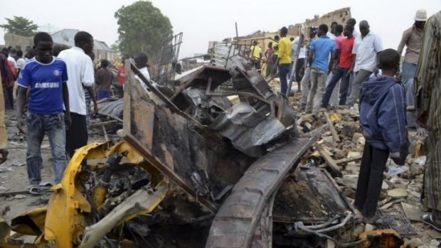Wreckage from one of two bomb blasts in the Nigerian city of Maiduguri.