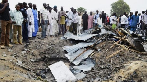 The crater left by one of the Maiduguri blasts.