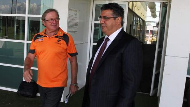 Kevin Sheedy with Andrew Demetriou.